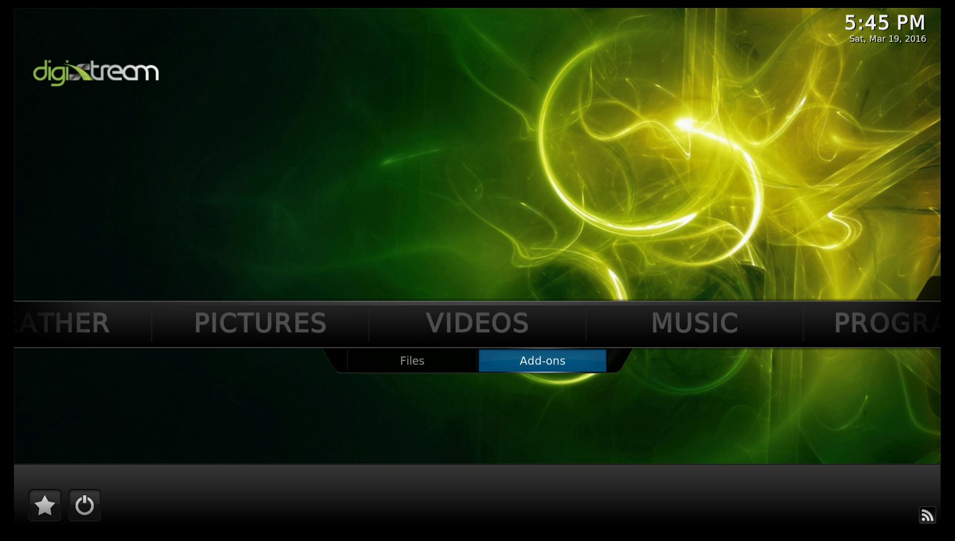 DigiXstream Box Kodi Home Screen